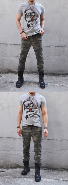 Bottoms :: Pants :: Camouflage Military Seaming Biker-Pants 25 - Mens Fashion Clothing For An Attractive Guy Look