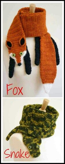 Crocheted animal scarves -- no link to a pattern, but I would love to sit down and figure out that fox. Crochet Cape, Crochet Scarves, Crochet Shawl, Knit Crochet, Crochet Crafts, Crochet Projects, Sewing Crafts, Hat And Scarf Sets, Yarn Bombing