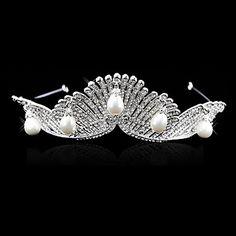 Diadèmes+en+alliage+de+luxe+avec+strass+et+perles+d'imitation+de+mariage+/+Casques+pour+occasions+spéciales+–+EUR+€+28.87