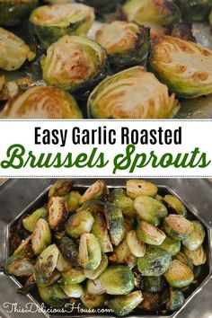 Easy Roasted Brussels Sprouts with Garlic and Red Chili Pepper. Baked  and roasted on foil in the oven, this healthy recipe side dish will make you love Brussels sprouts. #easysidedish #roastedbrusselssprouts #roastedbrusselsprouts #brusselssprouts