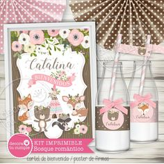Romantic Forest Animals Custom Printable Kit A super adorable kit with our exclusive Forest Animals illustrations, but . Woodland Party, Decoracion Baby Shower Niña, Baby Shawer, Ideas Para Fiestas, Forest Animals, Girl Shower, Birthday Invitations, Happy Birthday, Cata