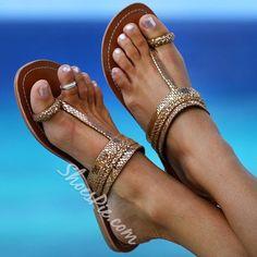 Shoespie Golden Clip Toe Flat Sandals