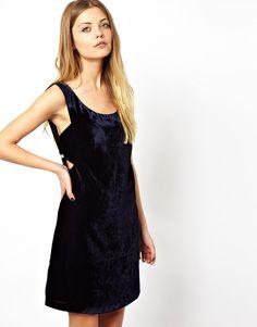 ASOS Velvet Zip Pinny Dress