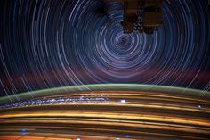 Utterly unbelievable photos, taken on board the ISS. Long exposures show star trails, but also the Earth in motion. NASA_JSC_Photo, via Flickr