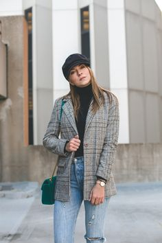 street style outfit with baker boy hat, checked blazer, turtleneck, 501 levis, gucci marmont bag