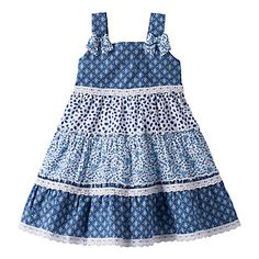 Give your little cutie a darling look with this girls' Blueberi Boulevard tiered swing dress. In blue/white. Frocks For Girls, Kids Frocks, Little Girl Dresses, Cute Baby Dresses, Toddler Girl Dresses, Party Dresses, Baby Girl Dress Design, Girls Frock Design, Dress Girl