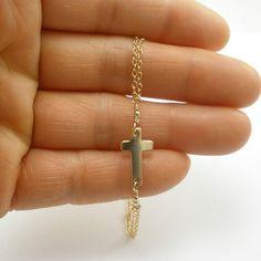 Sideways Cross Bracelet  Gold Sideways Cross by StarringYouJewelry, $28.00