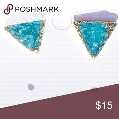Gold Dip Druzy Earrings Natural stone Turquoise Druzy gold dipped geode earrings in a cute triangle shape. Available in black and pink as well. If you don't see it listed please ask. Jewelry Earrings