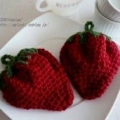 イチゴのアクリルたわしの作り方 編み物 編み物・手芸・ソーイング アトリエ