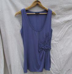 ESCADA Plum Knit Top Embroidered Beaded Sleeveless Tunic Womens S