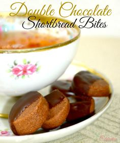 Double Chocolate Shortbread Bites - a not too sweet, perfect one-bite chocolate treat. Can be made in advance and frozen before dipping, too...