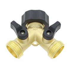 Ignpion 2 Way Brass Tap Manifold With Individual On/off Valves Tap Adaptor For Garden