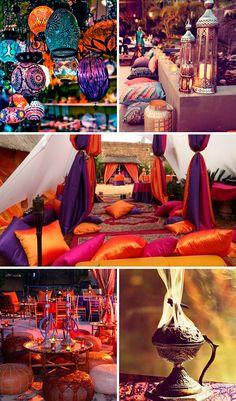 DecoraciÓn … Arabian Theme Party Decorations Arabian Theme, Arabian Party, Arabian Nights Party, Arabian Decor, Moroccan Theme Party, Moroccan Wedding, Indian Party, India Theme Party, Moroccan Decor