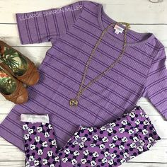 Fall in love with purple! Lularoe outfit includes Lularoe Gigi and Lularoe Disney leggings! Click to shop and get more style tips!