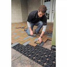 Brick Paver Patio, Concrete Walkway, Cement Patio, Paver Walkway, Walkways, Backyard Projects, Backyard Ideas, Outdoor Projects, Patio Ideas