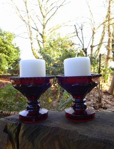 Love Spell  VINTAGE  Candle Holders  Blood Red  1876 Cape by Besom, $34.95