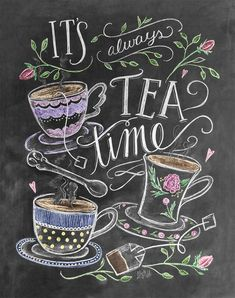 """""""It's always tea time!"""" We're pleased to add a print for Tea Lovers to the L&V collection. This colorful, whimsical design would make a lovely addition to your kitchen decor or a perfect gift for a te"""