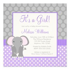 Square Elephant Baby Shower Invitation for a little Girl in Purple and Gray Polka Dots with a Purple Band / Custom Invites & Announcements