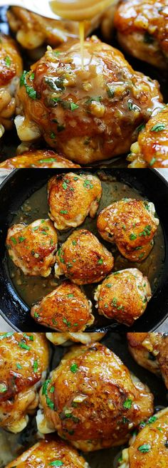 Sweet Garlic Chicken with sweet, sticky and golden brown butter garlic sauce. So good | rasamalaysia.com