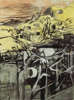 Graham Sutherland (British, 1903-1980), Hills above bomb storage caves pierced by bomb, St. Leu d'Esserent, France, 1945. Ink, pencil and gouache on paper, 20.2 x 17 cm.