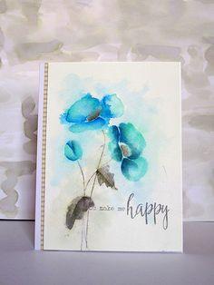 You Make Me Happy watercolor poppies card by Ashwini