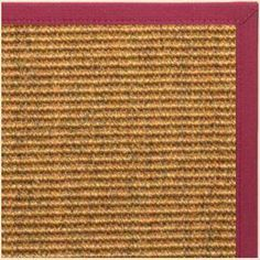 Sustainable Lifestyles Cognac Sisal Rug with Maroon Canvas Border