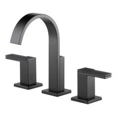 Brizo Siderna Widespread Bathroom Faucet with Pop-Up Drain Assembly Matte Black Faucet Bathroom Sink Faucets Double Handle Widespread Bathroom Faucet, Lavatory Faucet, Bathroom Sink Faucets, Concrete Bathroom, Bathroom Hardware, Bathroom Fixtures, Water Heating, Delta Faucets, Water Conservation
