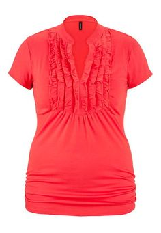Crush-worthy colors: plus size top with ruffle front and cinched sides in vibrant coral