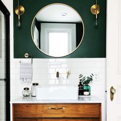 white and green bathroom with round mirror - Badezimmer Deko Ideen Diy Bathroom, Bathroom Renos, Bathroom Small, Bathroom Green, Bathroom Vanities, Bathroom Accent Wall, Colorful Bathroom, Gold Bathroom, Bathroom Cabinets