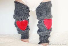 DIY baby heart patch sweater leg warmers