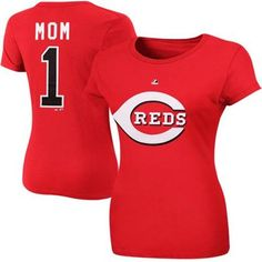 Cincinnati Reds Ladies #1 Mom Logo T-Shirt