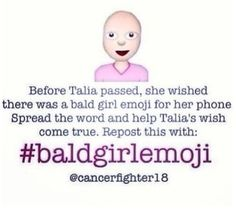 Talia passed away when she was 13 after struggling with two different types of cancers for six years. I did not know Talia but the miss her. We Are The World, In This World, Talia, Just In Case, Just For You, Most Popular Boards, Girl Emoji, Bald Girl, Faith In Humanity Restored