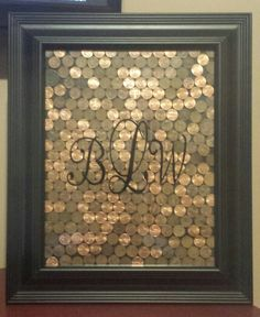 Copper is metal for 7 year anniversary. Finished product for my wonderful wife and the 7 years together. All U.S. Pennies dating back into the 1800s about 10 different ones all together.  Love ya babe!