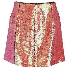 Markus Lupfer Women's Holographic Sequin Ashley Zip Skirt (€155) ❤ liked on Polyvore featuring skirts, mini skirts, bottoms, pink, red skirt, zipper skirt, embroidered skirt, fitted skirts and red sequin skirt
