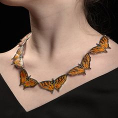 Marcia Meyers: Nectar, Necklace in matte cloisonne enamel on fine silver with sterling silver clasp.