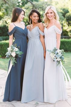 e834220e830 Off-the-shoulder removable strap chiffon Bridesmaid Dress in Dove Grey