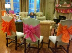 Chair bows made out of plastic tablecloths - cute and inexpensive!