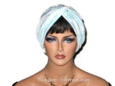 Handmade Blue Twist Turban, Floral, Cuffed