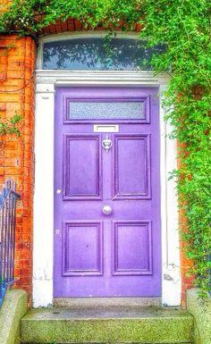 Dublin, Ireland - so colorfuuulllll :) Cool Doors, Unique Doors, Knobs And Knockers, Door Knobs, Monuments, Purple Door, When One Door Closes, Beautiful Architecture, Architectural Elements