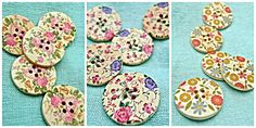 LAST ONES!  This listing is for a set of five (5) beautiful wooden buttons with printed floral design. Each button has four centre holes.