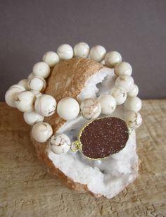 Druzy Bracelet Drusy Quartz White Turquoise by julianneblumlo, $88.00