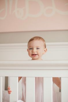 At home #lifestyle photo in baby's #nursery! From Massey's 1 year session, #photo by Krista Lee. #pink #1year #baby
