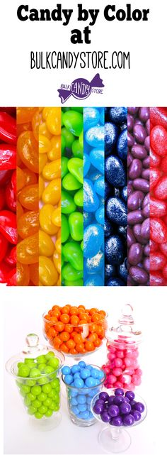 So many candies to choose from for any color-themed candy tables or buffets! Blue, Yellow, Green, Pink, Orange, Red, Purple-whatever you need! @bulkcandystore