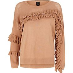Shop our new Beige knit frill front jumper at River Island today. River Island, Cable Knit Cardigan, Trendy Outfits, Trendy Clothing, Pulls, No Frills, Fashion Forward, Knitwear, Jumper