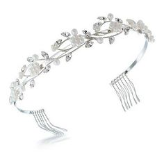 Bling Jewelry Crystal Pearl Gatsby Inspired Flower Leaf Bridal... ($40) ❤ liked on Polyvore featuring accessories, hair accessories, hair, white, bridal hair accessories, pearl headband, crystal headband, white flower hair accessories and gatsby headband