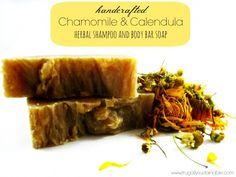 How to make a herbal shampoo & body bar soap using chamomile and calendula.