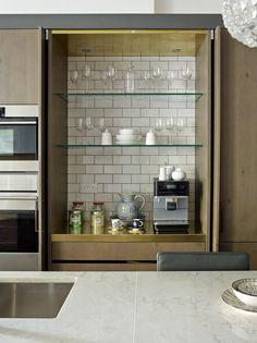 Matrix Bespoke - Matt Brushed Brass Worktop - Soho Crackle Glazed Tiles - Low Iron Glass Shelves - Grey Oak Veneer - Pocket Door - Storage Unit