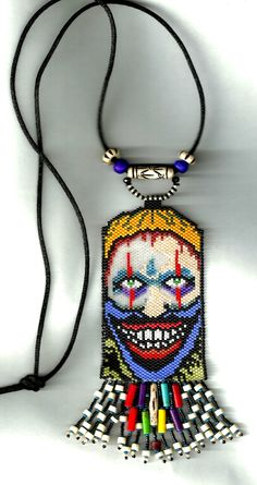 found this pattern on Pinterest and decide to put my spin on it...peyote beaded clown necklace