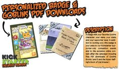 Preview of the upgraded Personalized Badge & Goblins PDF Downloads reward for #GoblinsGame