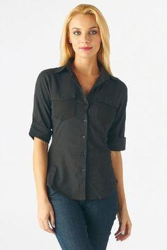 Women's cotton half sleeve button up shirt High Style. $19.99